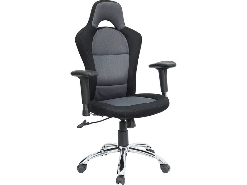 Race Car Inspired Bucket Seat Office Chair In Gray Black Mesh