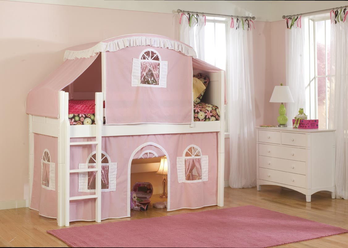 Pink Cottage Loft Bed White 1127 x 803