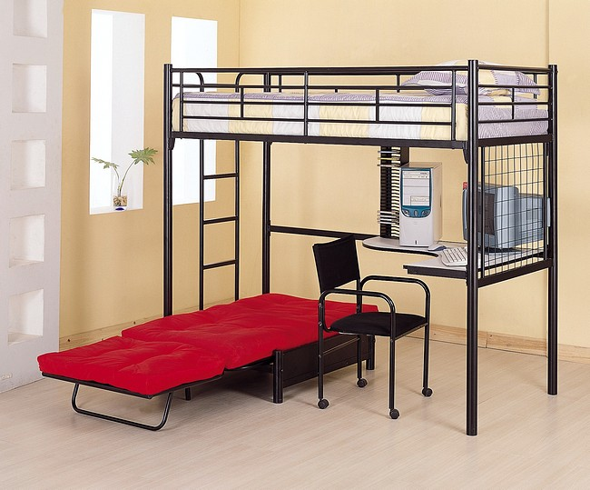 Black Loft Bed with Desk 650 x 539