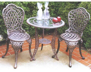 Oakland Living Mississippi 3-Piece Bistro Set with Glass Table Top - Fast FREE FedEx Shipping!