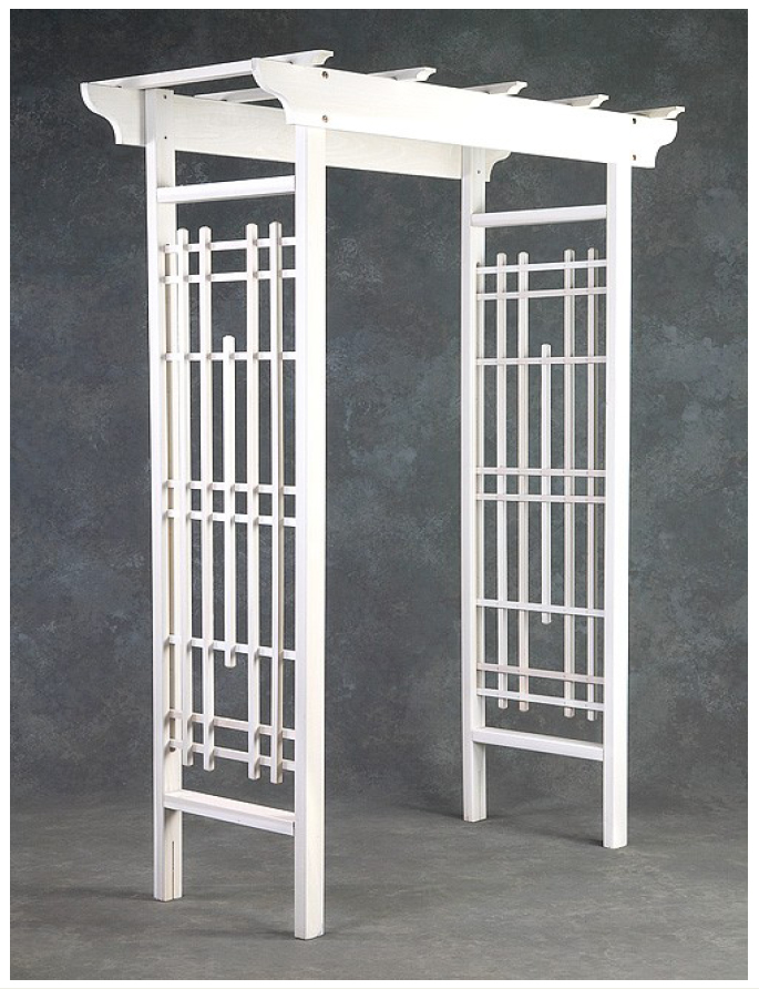 Greenstone Rose Petal White Wedding Arbor from Mercantilacom
