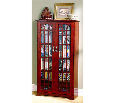 Media Storage - Sliding Door Window Pane Media Storage Cabinets by