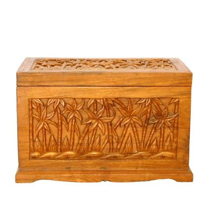 Trunks Storage on Asiaexp Carved Wood Hope Chest Or Storage Trunk With Palm Tree Design