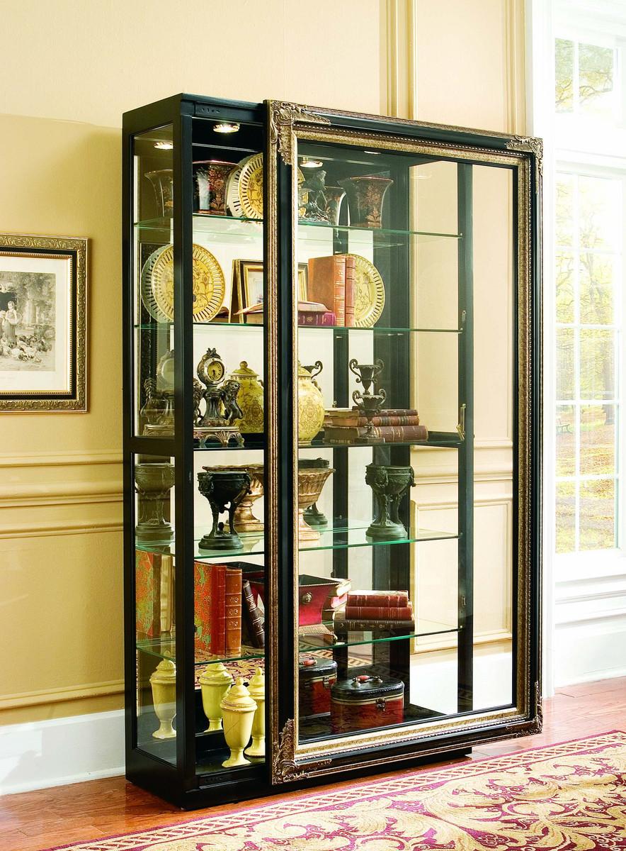 LOT 2 CHERRY WOOD CURIO CABINET W WOOD SHELVES GLASS DOORS | EBAY