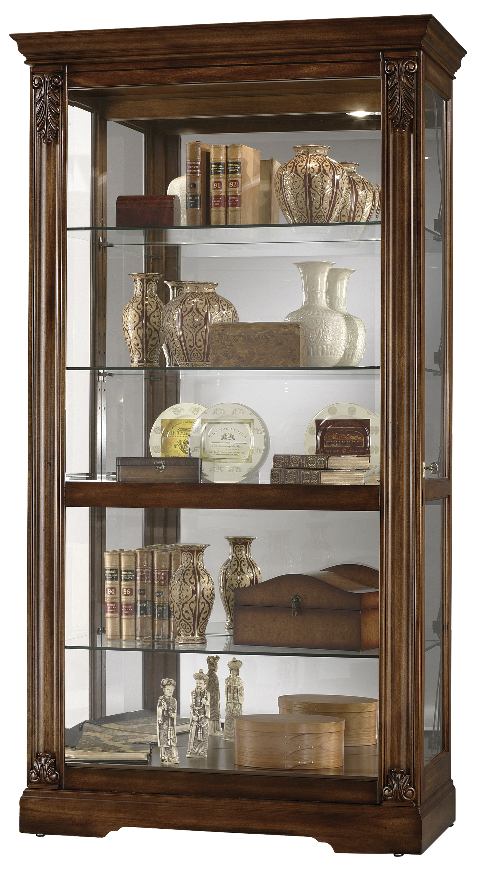 OAK WOOD GLASS WALL CURIO CABINET/DISPLAY CASE for sale