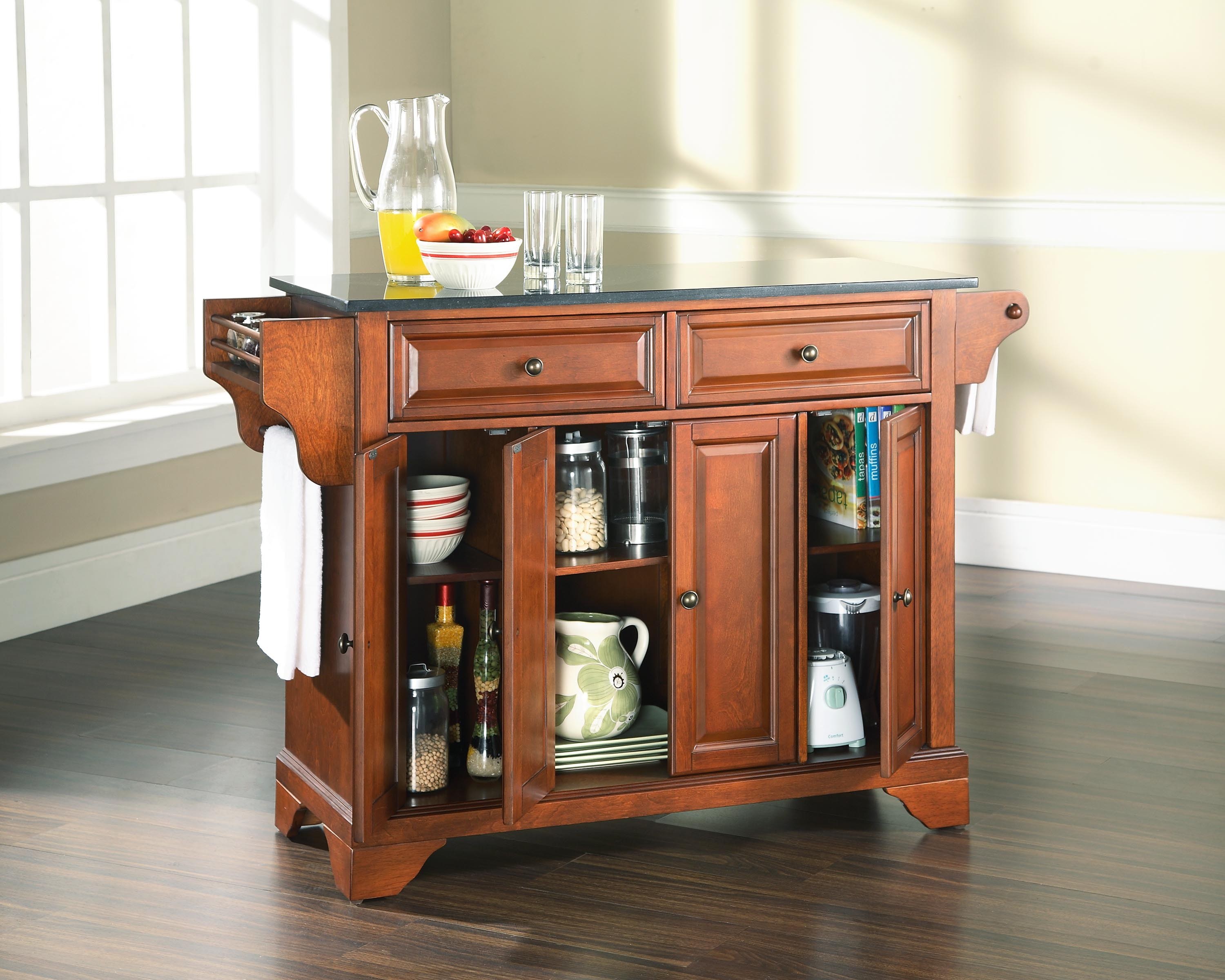 Granite Top Kitchen Island in Classic Cherry Finish Kitchen Island 0