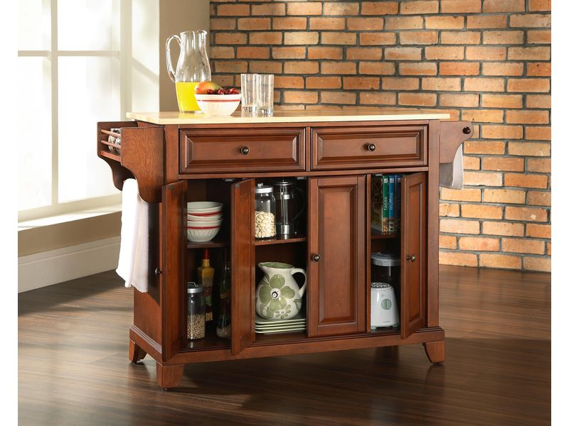 Newport natural wood top kitchen island in classic cherry finish