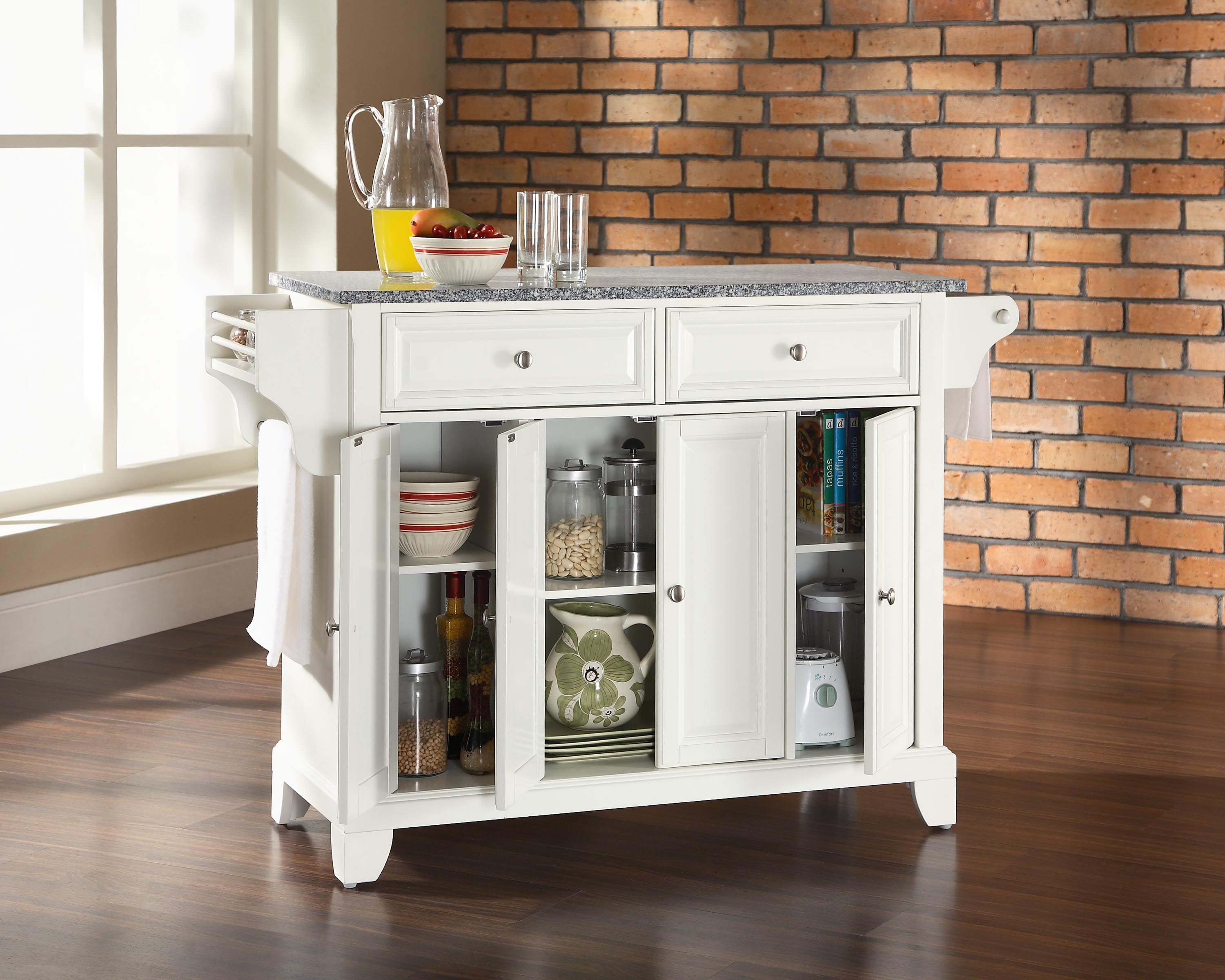 Granite Top Kitchen Island in White Finish Kitchen Island 0 0 jpg