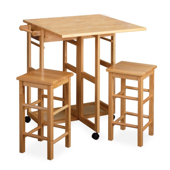 Winsome space saver square drop leaf kitchen island table for Kitchen table with stools
