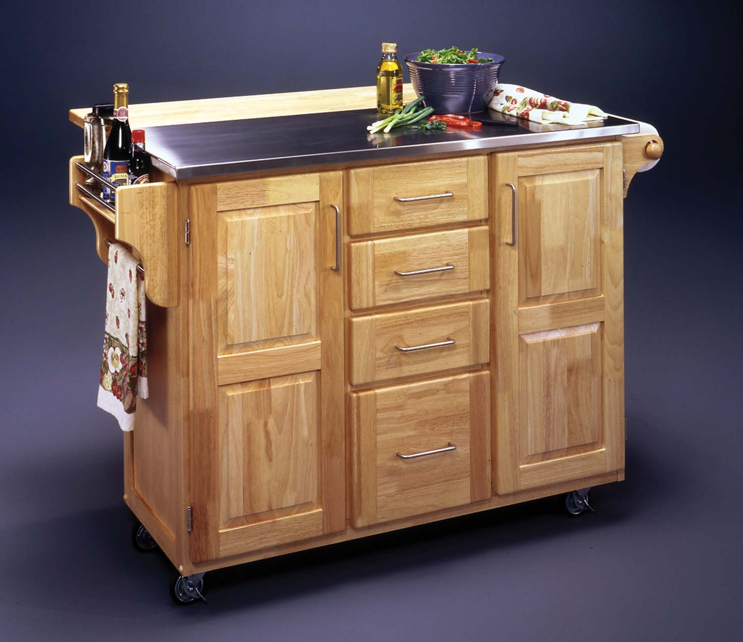 Home styles kitchen cart with drop leaf breakfast bar kitchen island