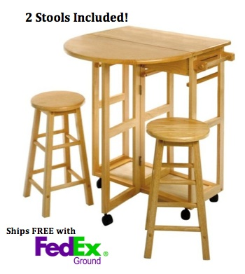 Winsome space saver round drop leaf kitchen island table with 2 stools