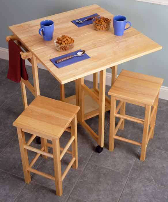 Winsome square drop leaf kitchen island table with stools from ... - Tables With Stools For Small Kitchen